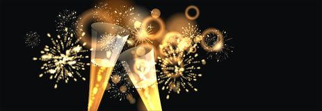 Happy New Year background  with firework. Party background with firework and clock Royalty Free Stock Image