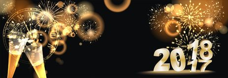 Happy New Year background  with firework. Party background with firework and clock Stock Photo