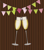 Party Background with Flags and Glasses of Champagne. Vector Ill Stock Image