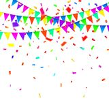 Party Background with Flags Vector, Colored confetti and festoons on the white background.  Royalty Free Stock Image