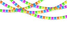 Party Background with Flags Vector, Colored festoons on the white background.  Royalty Free Stock Photo