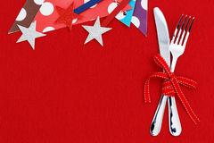 Party background with fork and knife Stock Photography