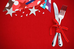Party background with fork and knife Royalty Free Stock Image