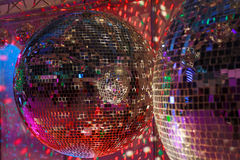 Party background with glowing lights. And disco ball stock photos