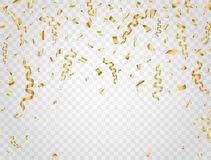 Party background with gold confetti. Celebration background. Vector illustration.  Stock Photos