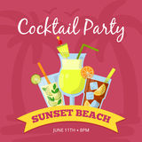 Party background illustration with different cocktails set. Vector poster. Drink tropical cocktail banner, sunset beach with fresh beverage Stock Photo