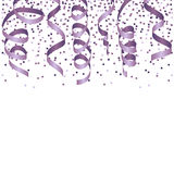 Party background with lilac streamers and confetti. Royalty Free Stock Photo