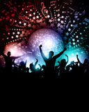 Party background with mirror ball. Party crowd background with music notes and mirror ball Stock Photos
