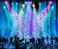 Party background party, disco, dance, scene easy all editable. Spotlight club stock illustration