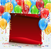 Party background with red paper, confetti and balloons. Party background with red bent paper, lights, confetti, inflatable balloons and place for your text Royalty Free Stock Image