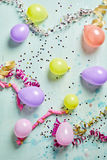 Party background with streamers and balloons Royalty Free Stock Photography