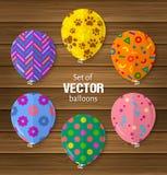 Party balões no estilo liso útil para o cumprimento e o aniversário ou as outras ocasiões Vetor ilustração stock