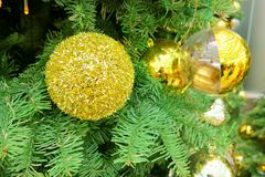 Party ball. Decoration golden ball Royalty Free Stock Photo