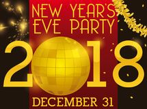 Party Ball, Fireworks and Garland for New Years`s Eve. Poster for New Year`s eve party with golden disco ball, garland and fireworks display in the background Royalty Free Stock Images