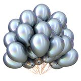Party balloon bunch white silver. Birthday helium balloons. Party balloon bunch white silver. Helium balloons birthday decoration glossy metallic beautiful Stock Images