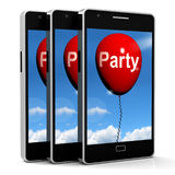 Party Balloon Phone Represents Parties Events and Celebrations Stock Photography