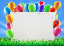 Party Balloon Sign. An illustration of a sign surrounded by party balloons in a field on a bright spring or summer day Stock Photography