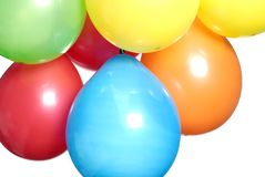 Party balloons. Mixed colours party balloons against a white background stock images
