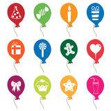 Party balloons. Collection of colourful party balloons with motifs Royalty Free Stock Images