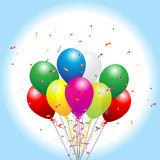 Party balloons. Party background with balloons and confetti Royalty Free Stock Images