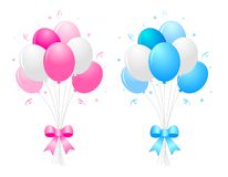 Party balloons. Illustration of a bunch of multi-colored 9pink blue and white) balloons with curly ribbons clipart isolated on white background stock illustration