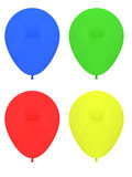 Party balloons. Four party Balloons isolated on white with the color blue,yellow,red and green Royalty Free Stock Photography