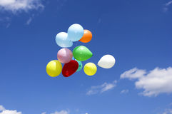 Party balloons. Bunch of party balloons against blue sky Royalty Free Stock Images