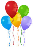 Party Balloons. Colorful party balloons with curly ribbons. Vector format available Royalty Free Stock Images
