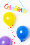 Party balloons. And tablet Celebrate Stock Photography