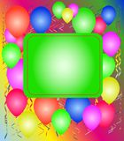 Party with balloons. And a streamer and a frame, background Royalty Free Stock Photography
