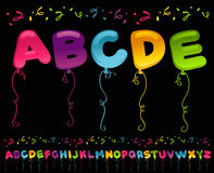 Party Balloons Alphabet. Colorful set of party balloons in alphabet shapes Stock Images