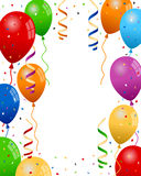 Party Balloons Background. Colorful party balloons with streamers and confetti on white background. Eps file available Royalty Free Stock Photos