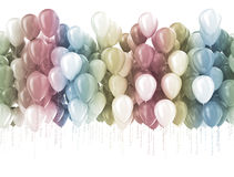Party balloons background. Multi color pastel color party balloons isolated on white Royalty Free Stock Image