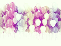 Party balloons background. Multi color pastel color party balloons isolated on white Royalty Free Stock Photo