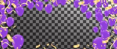 Party balloons blue purple helium balloon birthday decoration an. Niversary graduation retirement holiday vector illustration