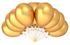 Party balloons bunch golden yellow metallic. birthday decoration. Luxury, helium balloon group shiny. holiday, anniversary celebration symbol. 3d illustration Royalty Free Stock Images