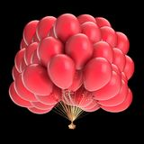 Party balloons bunch red. birthday, anniversary, party decoration. Glossy helium balloon group. festival holiday symbol. 3d illustration. isolated on black Stock Photography