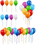 Party Balloons Collection. Collection of colorful party balloons (isolated, group and banner), on white background. Eps file available Stock Photography