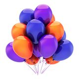 Party balloons colorful. Birthday balloon bunch decoration. Multicolored blue orange purple. Holiday, celebration, carnival symbol. 3d illustration isolated Royalty Free Stock Images