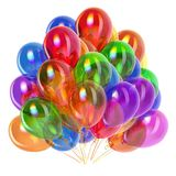 Party balloons colorful, birthday decoration multicolored. Helium balloon bunch glossy different colors. Holiday, anniversary celebrate greeting card. 3d Stock Photography