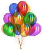 Party balloons colorful glossy beautiful carnival decoration. Party balloons colorful, happy birthday balloon bunch, holiday carnival decoration. Multicolored Royalty Free Stock Image