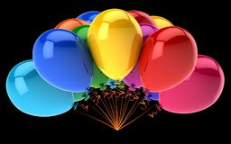 Party balloons colorful glossy. birthday decoration multicolor. Helium balloon bunch red yellow blue. carnival, holiday, celebration symbol. 3d illustration Royalty Free Stock Photo