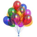 Party balloons colorful. happy birthday balloon bunch varicoloured. Festive carnival decoration. celebration symbol multicolored. 3d illustration Stock Image