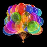 Party balloons colorful. happy birthday helium balloon bunch. Holiday decoration multicolor. different color celebration symbol. 3d illustration, isolated on Stock Image