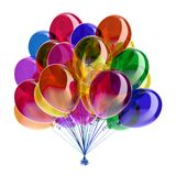 Party balloons colorful multicolored red blue green yellow violet. Party balloons colorful. multicolored happy birthday party helium balloon bunch glossy Royalty Free Stock Images