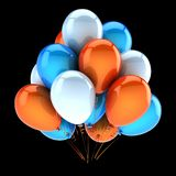 Party balloons colorful white blue orange decoration. Party balloons colorful white blue orange. Birthday balloon bunch decoration multicolored. Holiday Royalty Free Stock Image