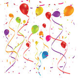 Party balloons and confetti Royalty Free Stock Photo