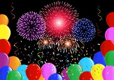 Party balloons, confetti ribbons and fireworks Royalty Free Stock Photography