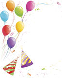 Party balloons and confetti with striped hats stock illustration