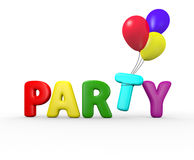 Party Balloons. 3d party text with the balloons carrying away the t Stock Photos